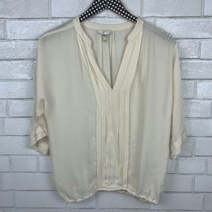 Joie MarruSilk Pleated Blouse Top XS V2818